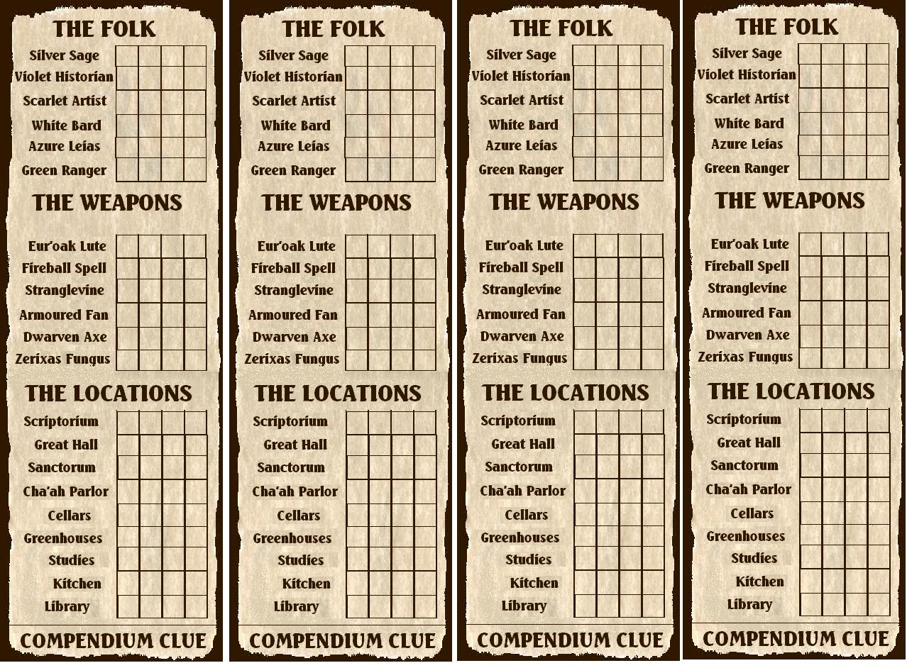 Clue Game Sheets 10th Santharian Annive...